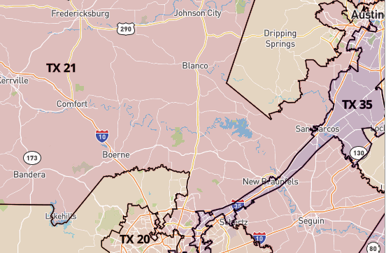 Map of Texas 21st Congressional District
