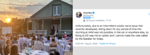 Left, Chip Roy speaks to maskless audience. Right, Roy's tweet about debilitating back pain
